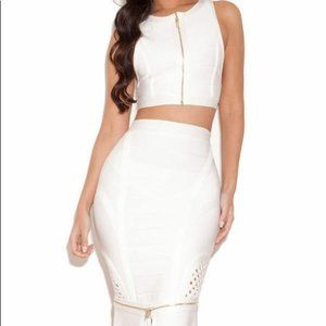 House of CB JAYDA White Crop SMALL NWT